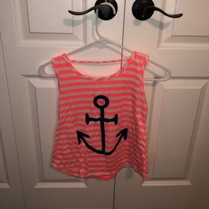 pink and white stripes. Anchor design on the front